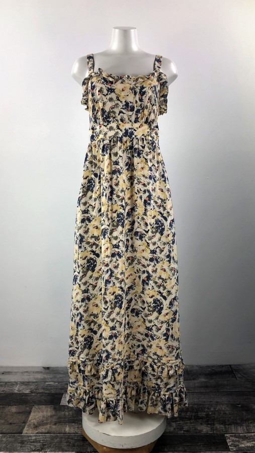 Moulinette Soeurs Yellow Blue Maxi Dress Size M Dress Your Lashes