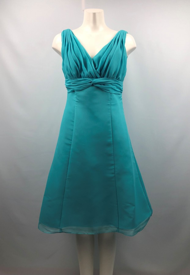 Eden Maids V-neck Blue Sleeveless Cocktail Dress Size 8