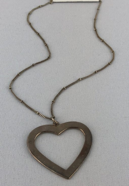 Silver Tone Necklace with Heart Pendant