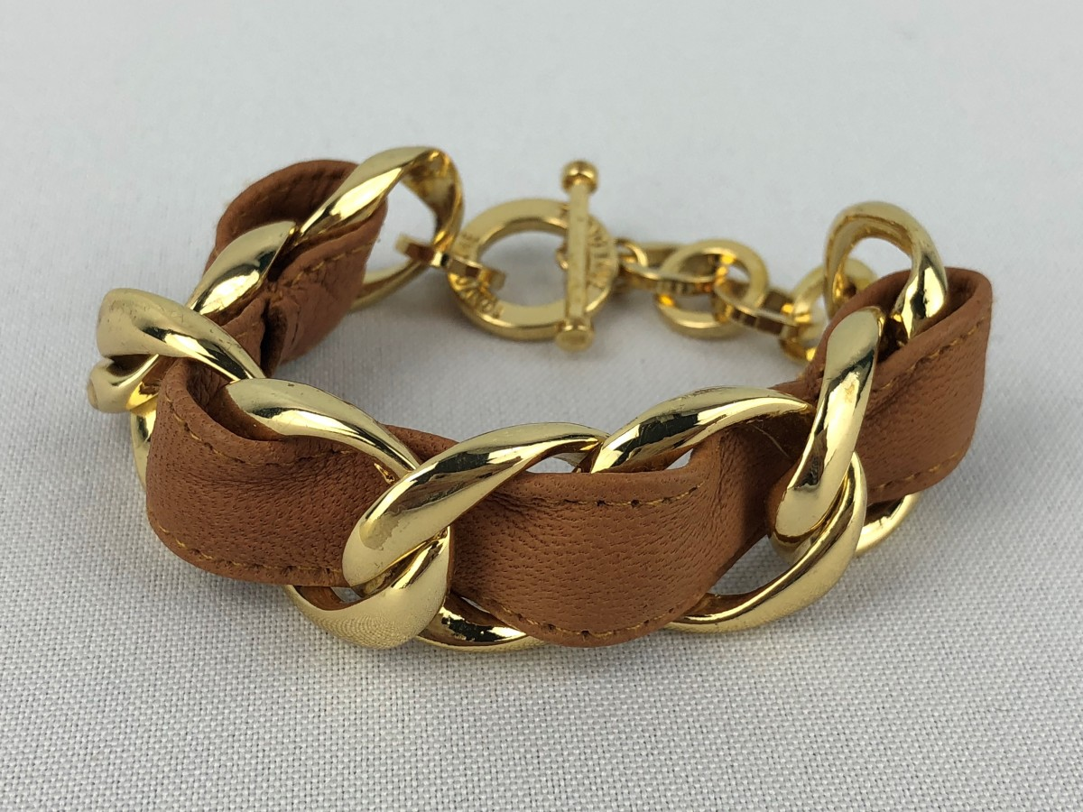 Gold Tone & Leather Chain Bracelet