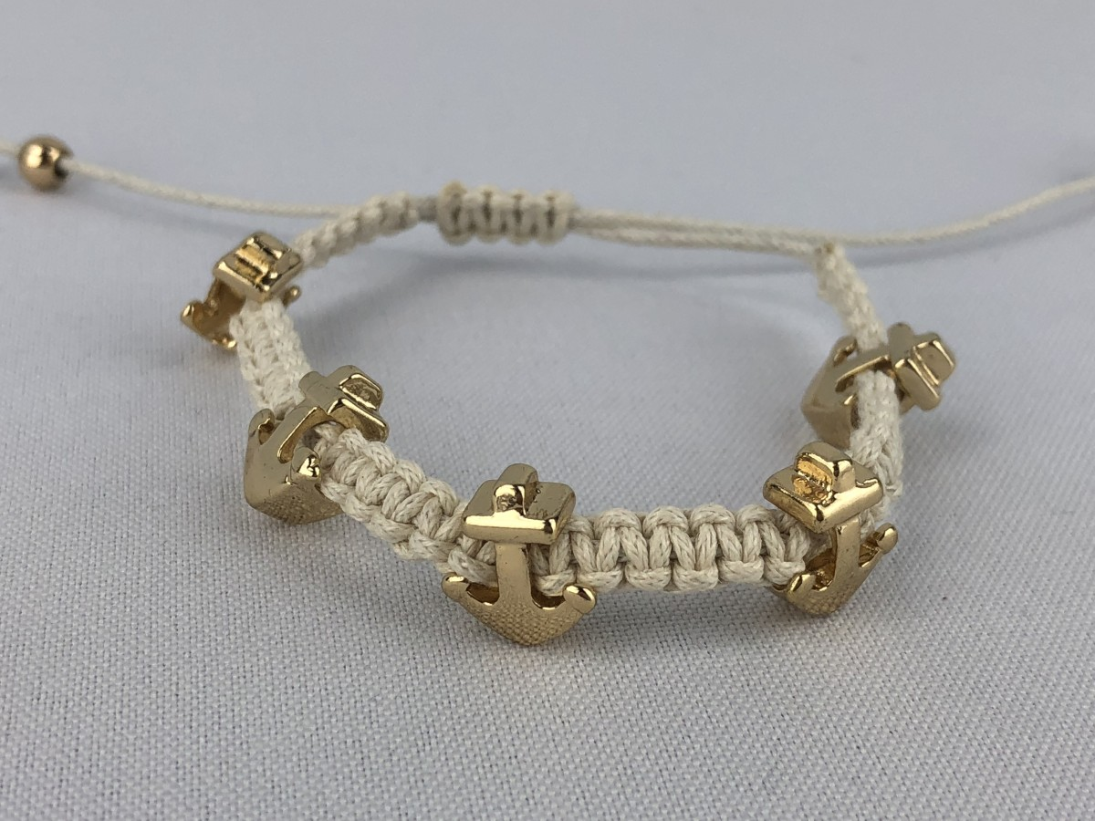 White Crochet Bracelet with Gold Charm