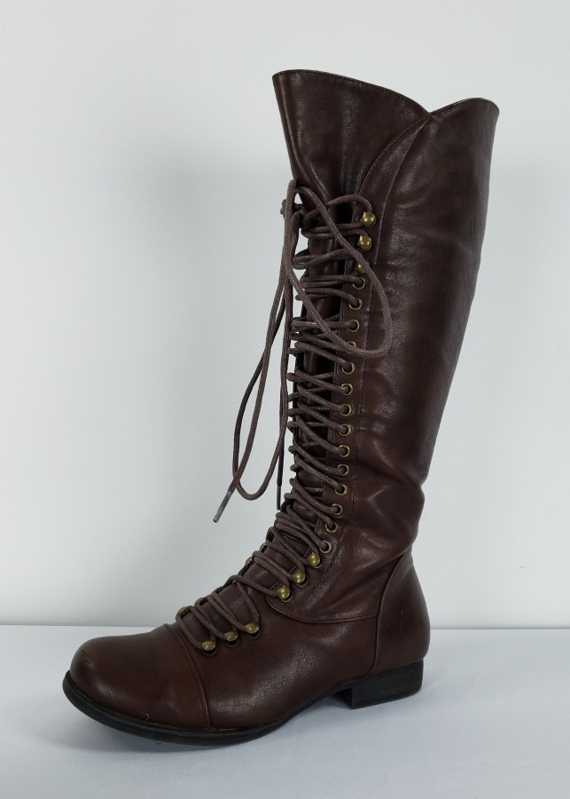 c83cf4abcae39 Brown Tall Lace Up Boots Size 7 – Dress Your Lashes