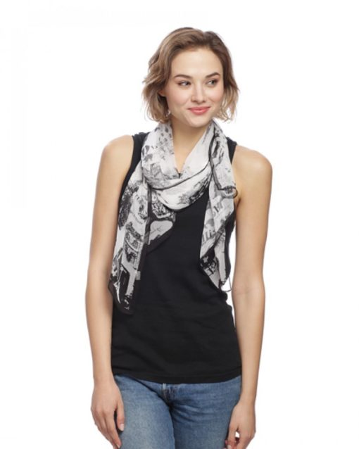 Black Paris Print Scarf