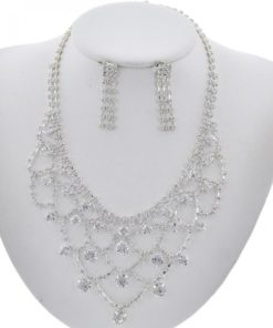 Siver Tone Ab Rhinestone Necklace Set