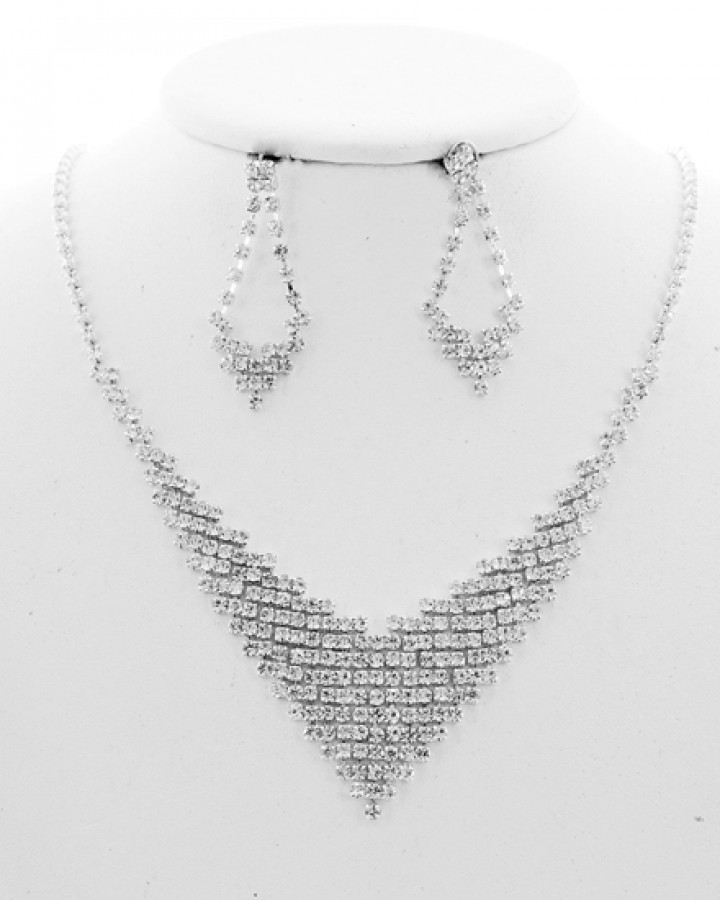 Silver Tone Rhinestone Necklace Set