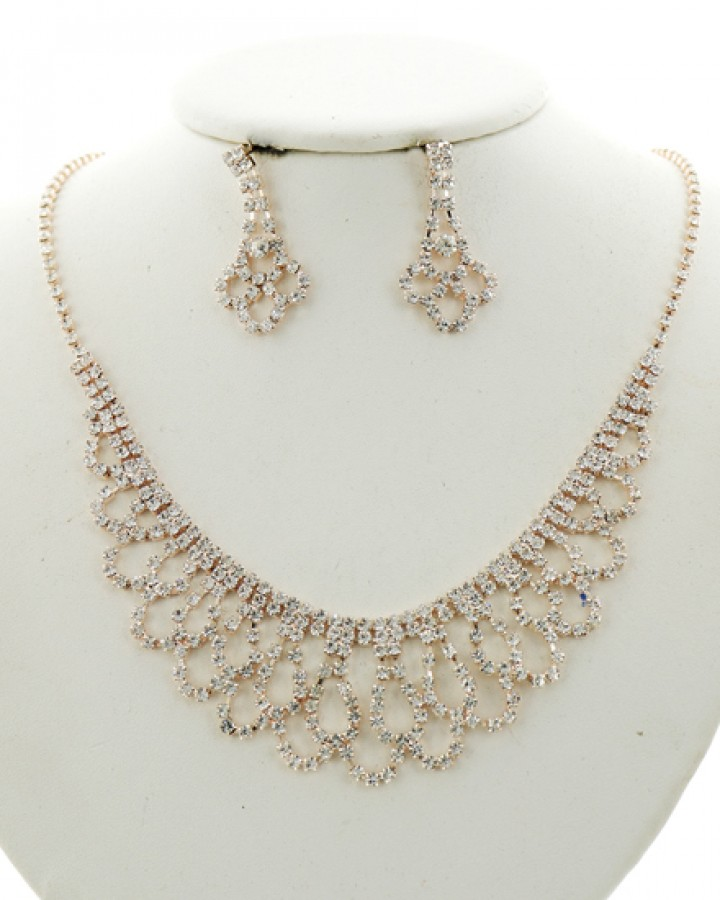 Rose Gold Rhinestone Necklace Set