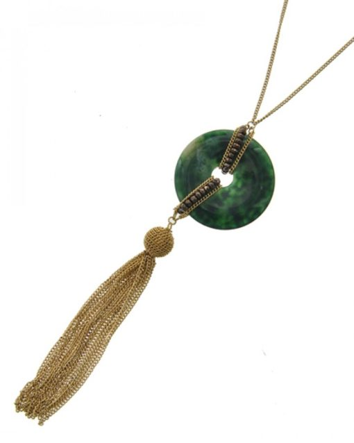 Green Natural Stone & Gold Tassel Long Necklace