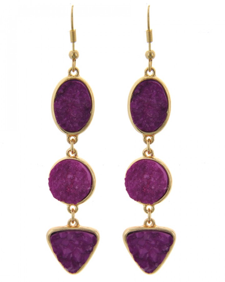 Purple & Gold Drop Earrings