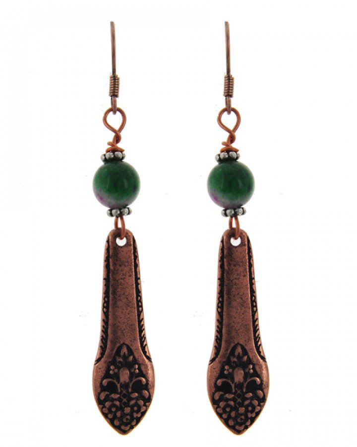 Copper & Turquoise Drop Earrings