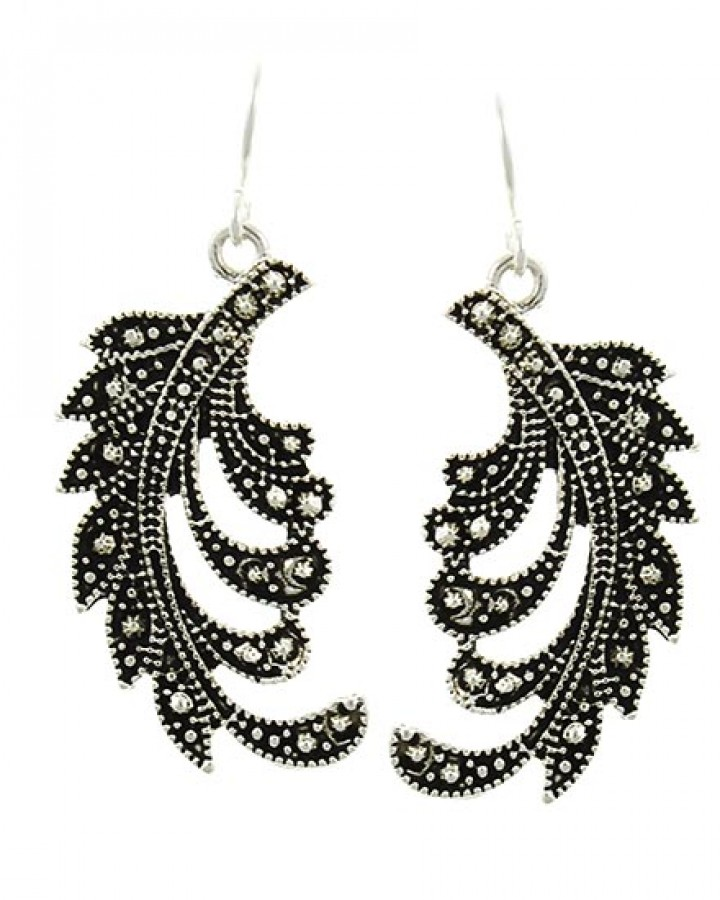 Antique Silver Tone Feather Earring Set