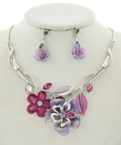 Silver Tone Purple & Pink Flower Necklace Set