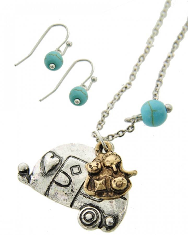 Burnished Silver & Gold Camping Bus Necklace Set
