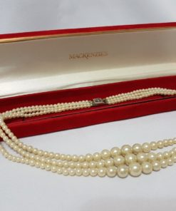 Three Strand Vintage Pearl Choker with Button Clasp