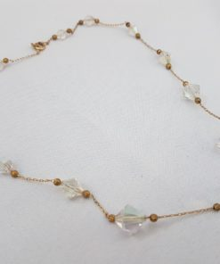 Glass Bead Gold Necklace 16""