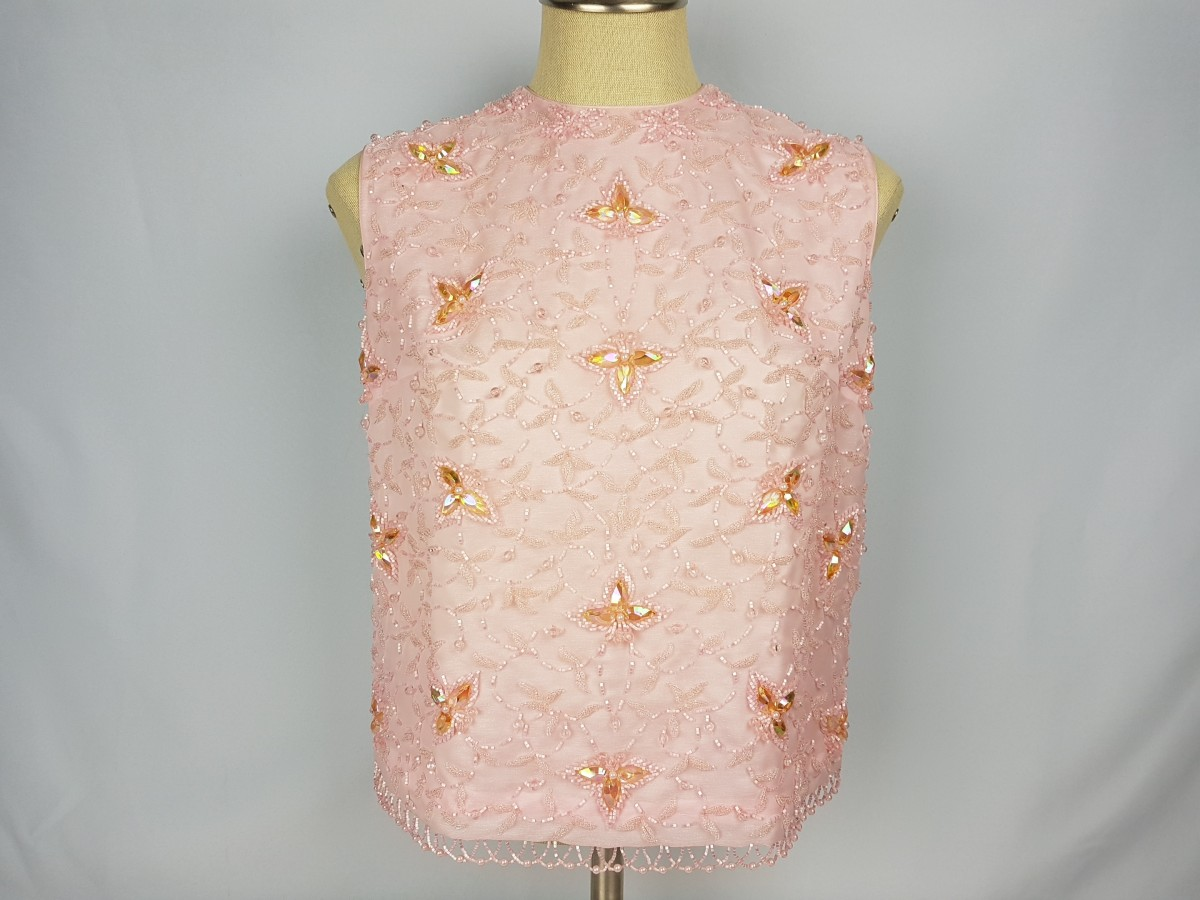 Vintage Helen Fashion & Co Soft Pink Beaded Top Size S