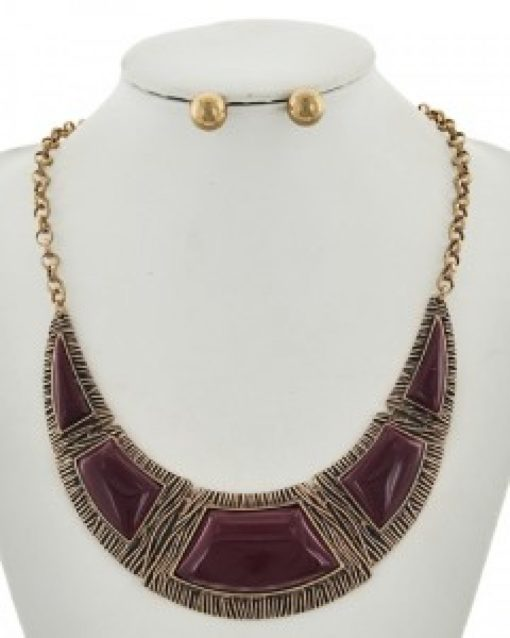 Burgundy & Gold Necklace