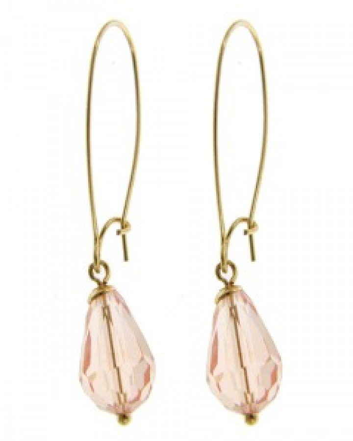 Peach Glass Teardrop Earrings