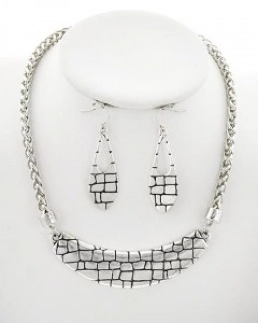 Burnished Silver Necklace Set