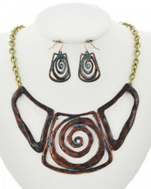 Patina Statement Necklace Earring Set