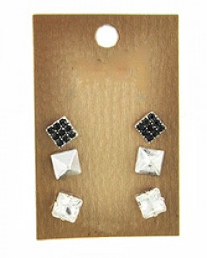 Silver & Black Earring Set