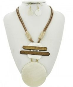 Brown Wood Necklace Set