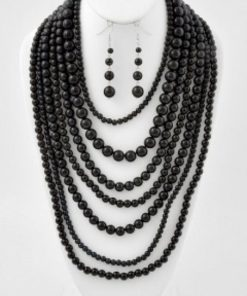 Black Pearls Necklace Set