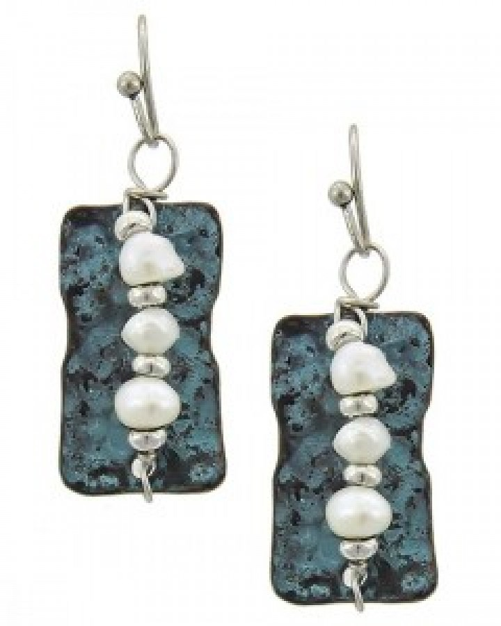 Burnished Silver Patina & Pearl Earring Set