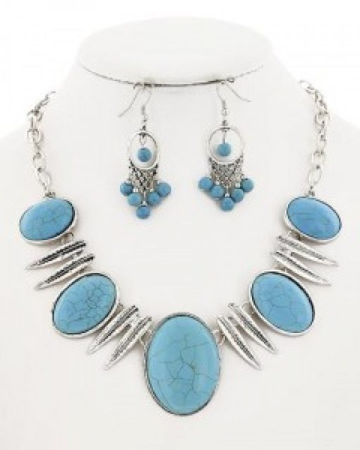 Burnished Silver Turquoise Necklace Set
