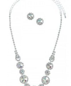 Ab Rhinestone Necklace Set
