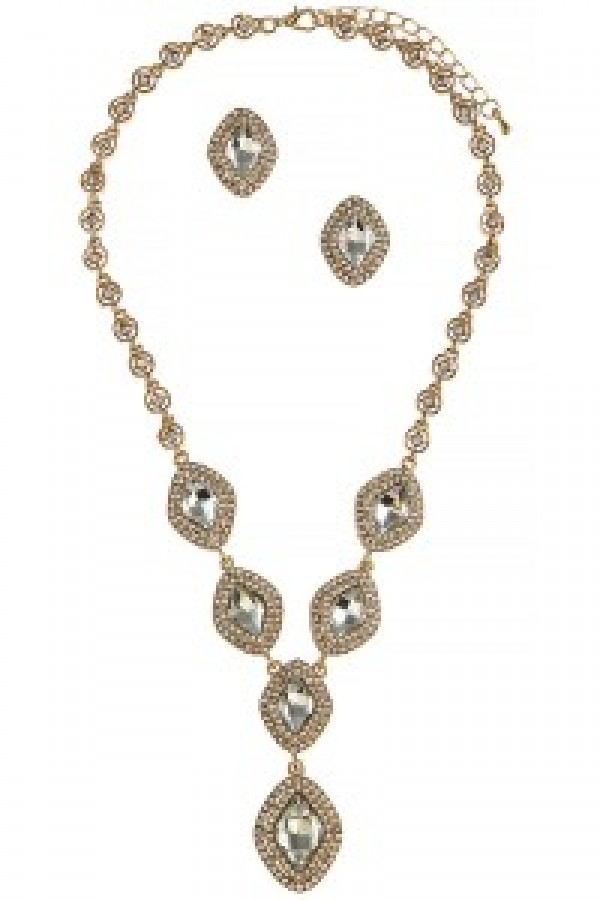 Gold Rhinestone Necklace Set
