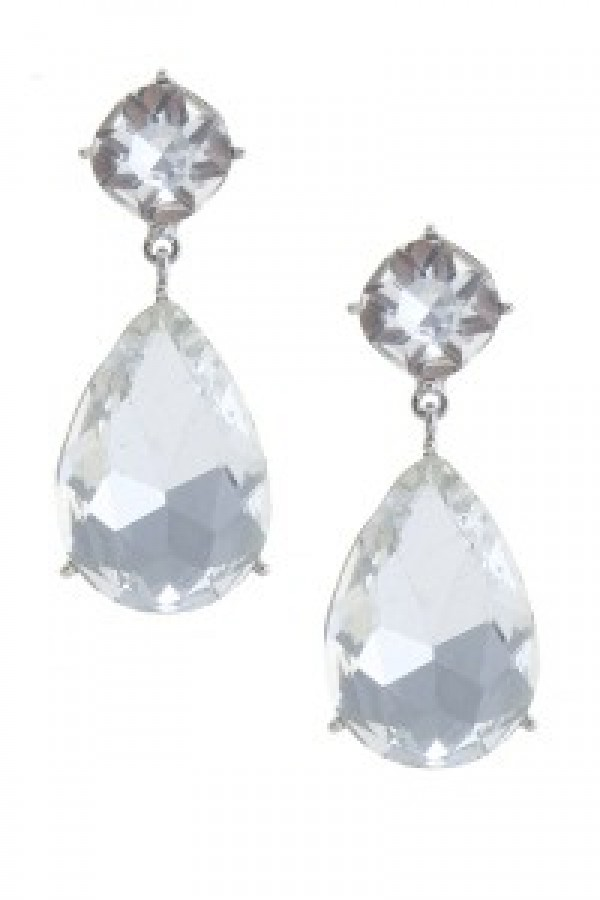 Silver Teardrop Glass Earrings