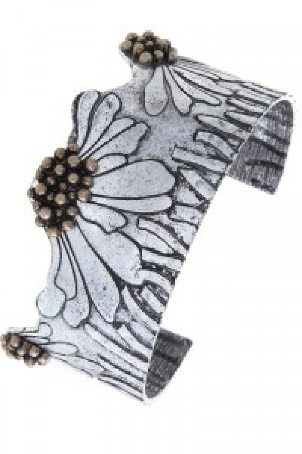 Flower Silver and Copper Cuff Bracelet