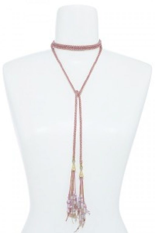 Pink & Gold Choker Lariat Necklace