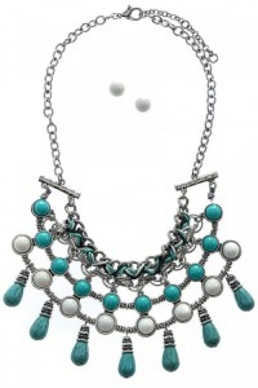 Turquoise White & Silver Statement Necklace & Earring Set