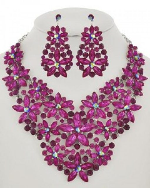 Fuchsia Rhinestone Flower Necklace & Earring Set