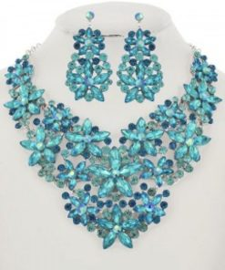 Aqua Blue Rhinestone Flower Necklace Set