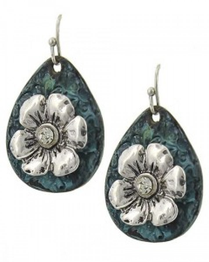 Burnished Silver Tone & Patina Teardrop Flower Dangle Earring Set