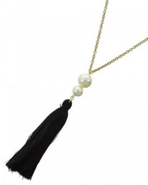 Matte Gold Pearl Tassel Long Necklace