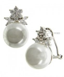 Clear Cubic Zirconia & Cream Pearl Button Style Earring Set