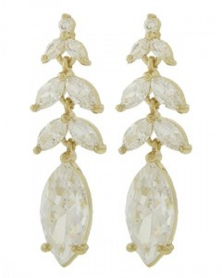 Gold Clear Cubic Zirconia Dangle Earring Set