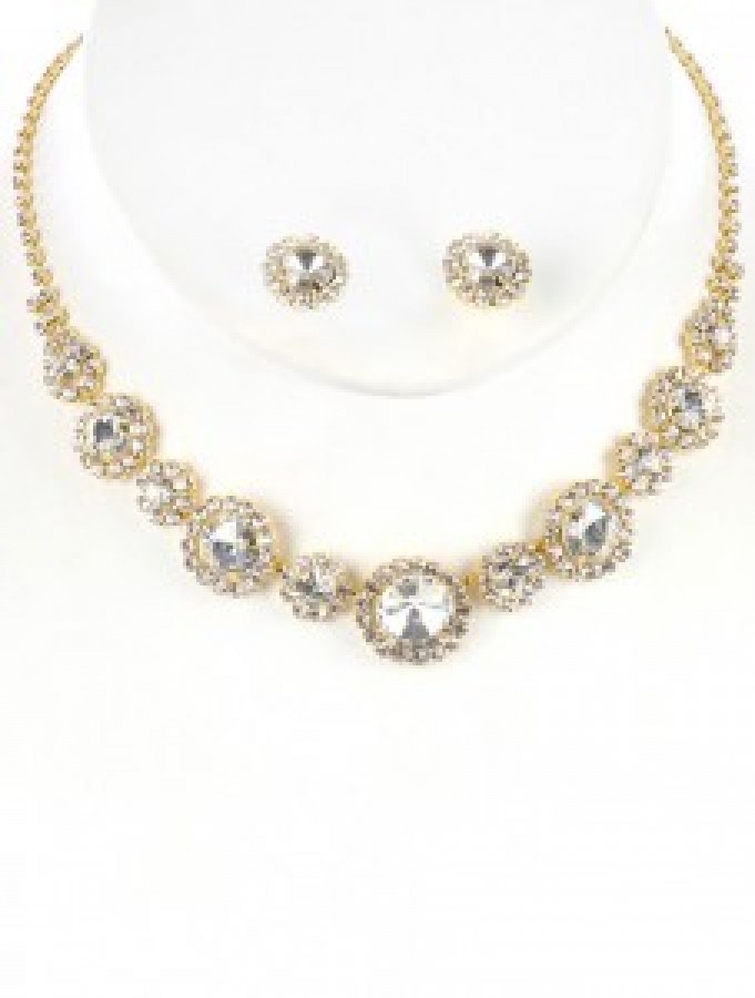 Gold & Rhinestone Necklace Set