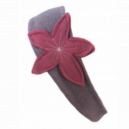 Heather Grey Headband With Mulberry Pink Flower.