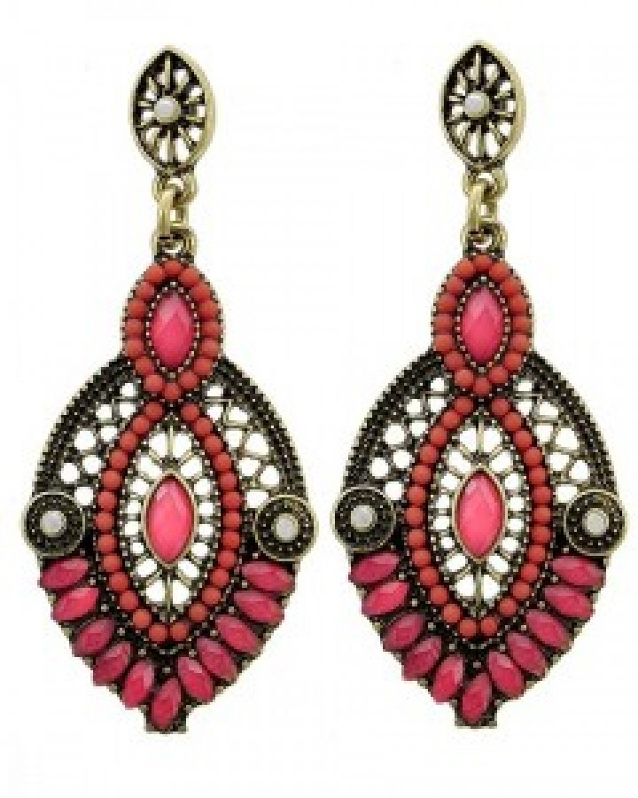 Burnished Gold Hot Pink Dangle Earring Set