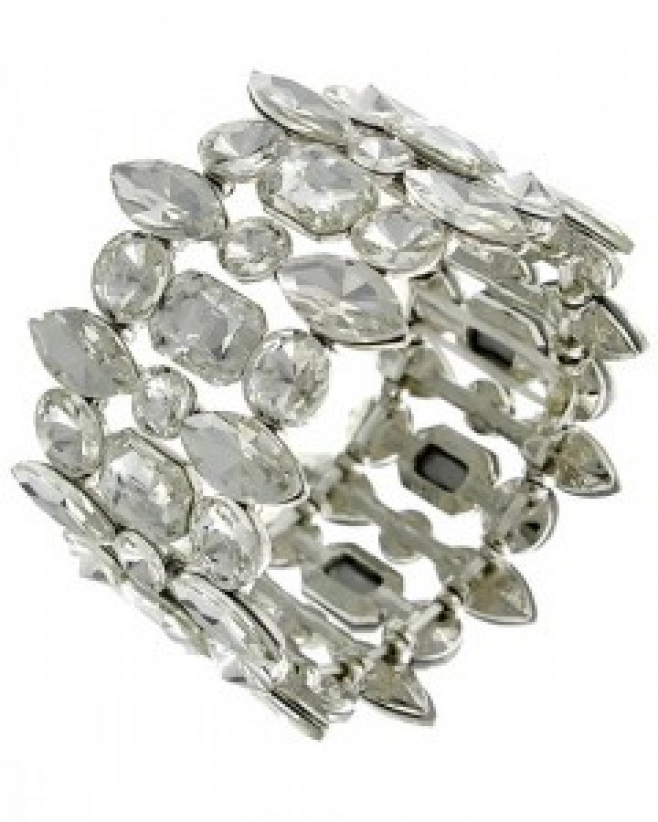 Silver Glass Stretch Bracelet