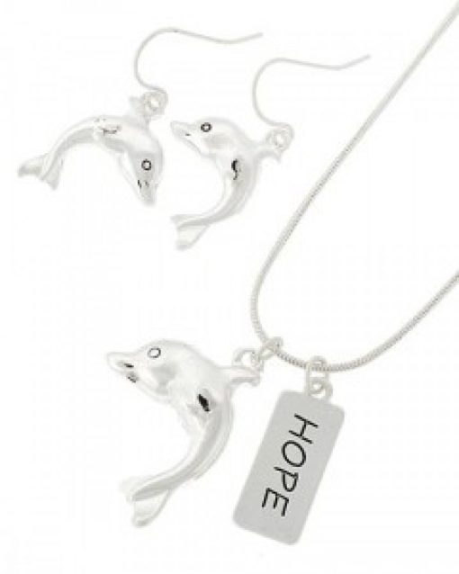 Dolphin Hope Necklace & Earring Set
