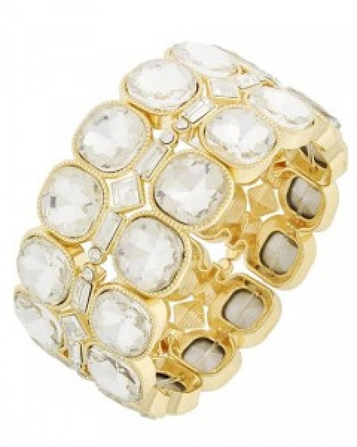 Gold & Clear Glass & Rhinestone Stretch Bracelet