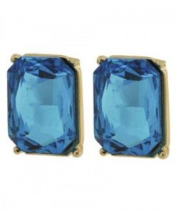 Gold & Blue Glass Earring Set
