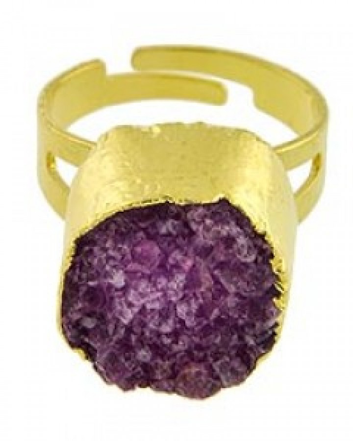 Purple Semi-precious Adjustable Ring