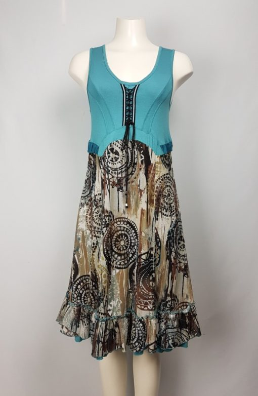 Dolcezza Sleeveless Abstract Print Flared Dress Size S