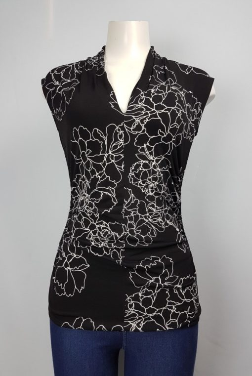 Black Printed Fitted Sleeveless Top Size S